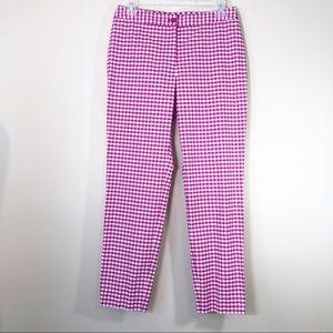 J. McLaughlin Pink/White Gingham Check Pants - 4